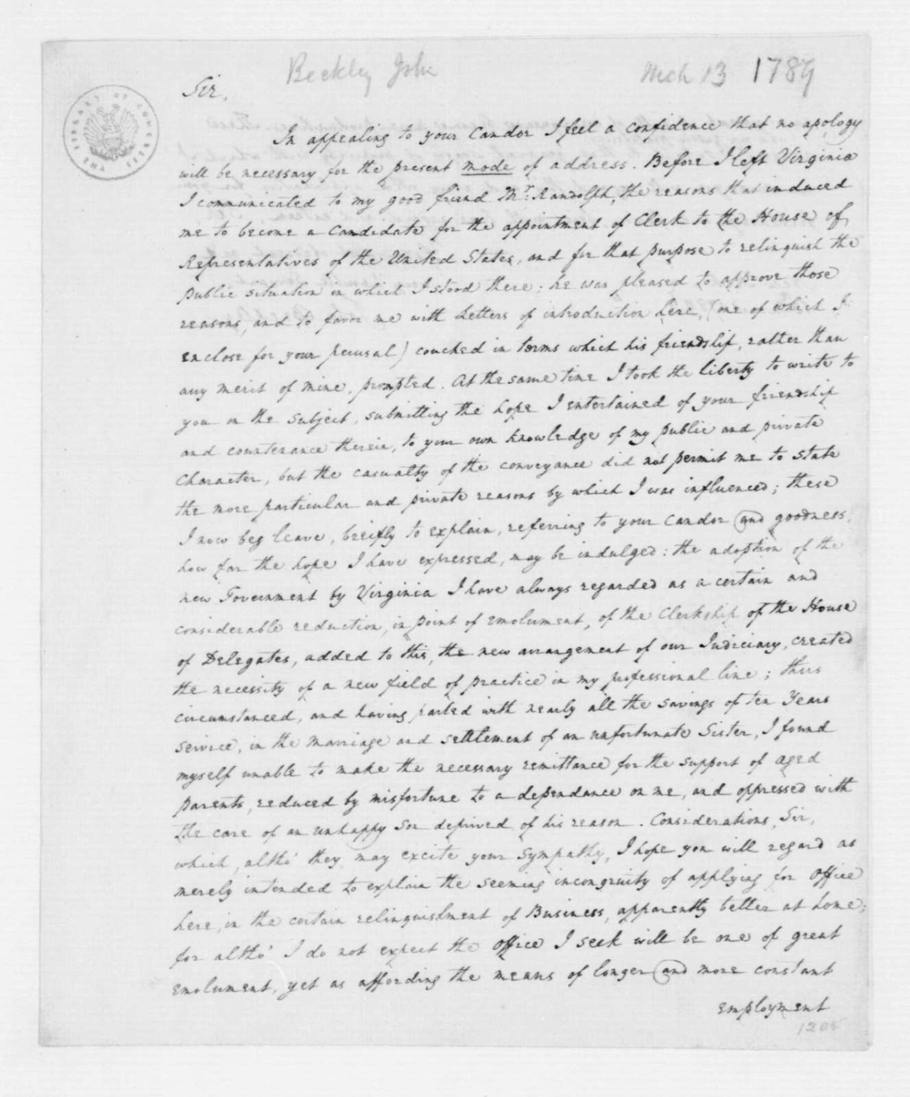 John Beckley to James Madison, March 13, 1789.