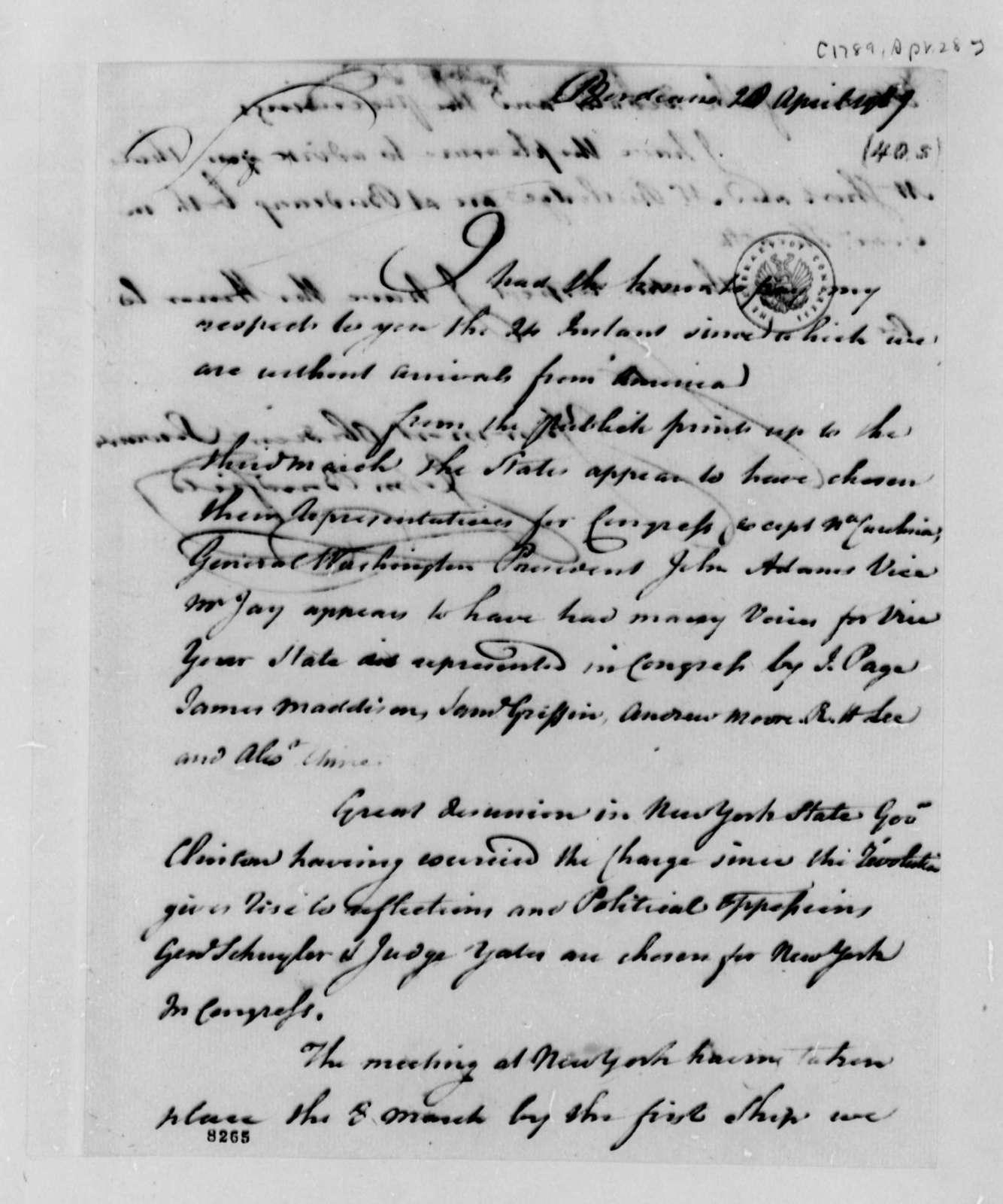 John Bondfield to Thomas Jefferson, April 28, 1789