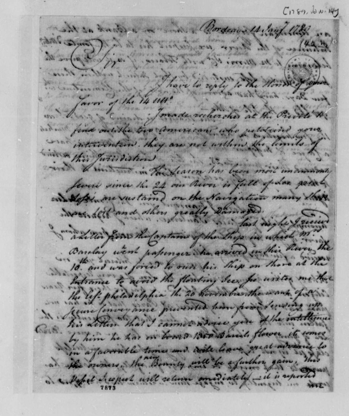 John Bondfield to Thomas Jefferson, January 14, 1789