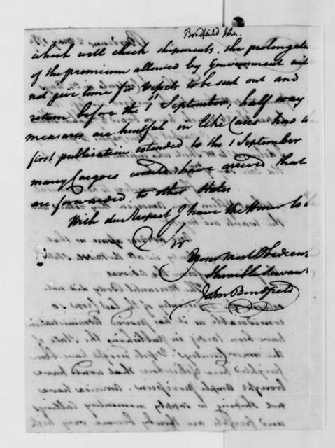 John Bondfield to Thomas Jefferson, May 2, 1789