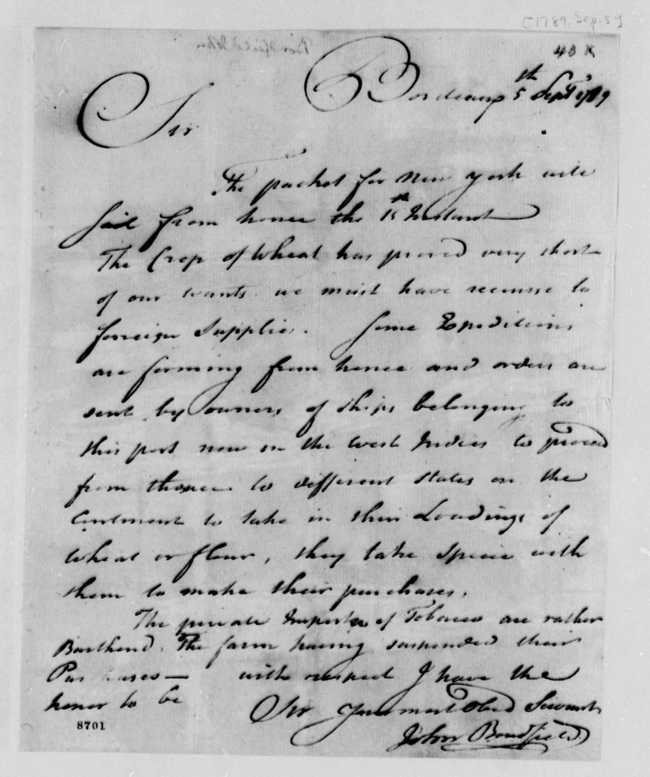 John Bondfield to Thomas Jefferson, September 5, 1789