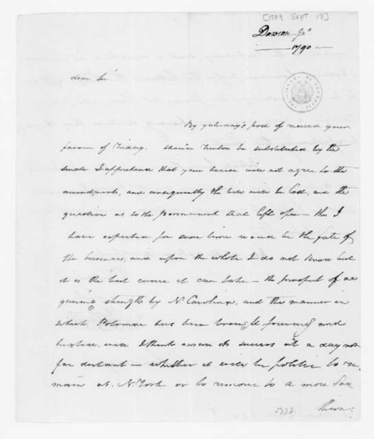 John Dawson to James Madison, September 13, 1789.