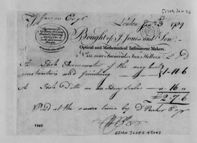 John Jones & Sons to Thomas Jefferson, January 3, 1789, Receipt for Thermometers Paid for by Daniel Parker