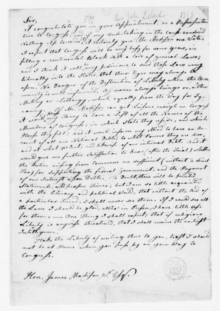 John Leland to James Madison, February,1789.