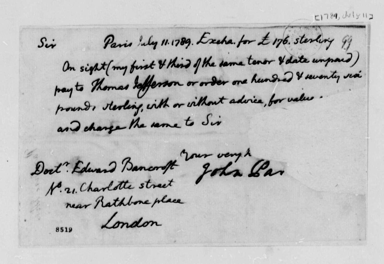 John Paradise to Edward Bancroft, July 11, 1789, with Copy