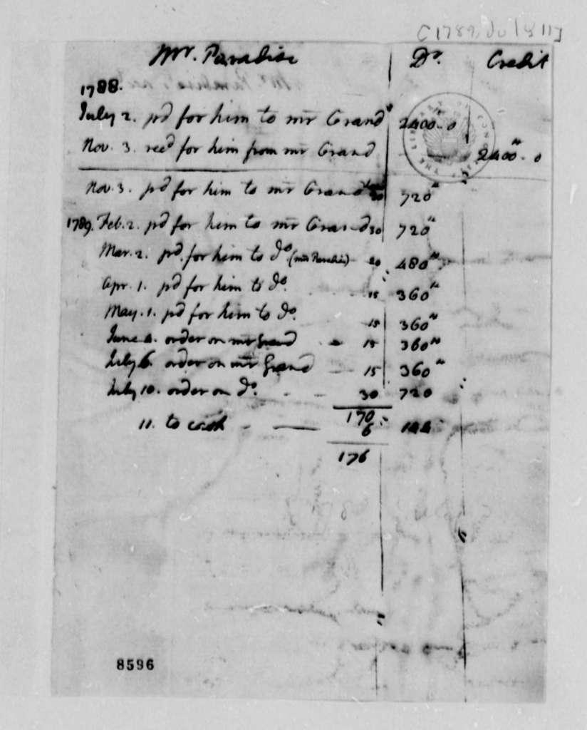 John Paradise to Ferdinand Grand, July 11, 1789, Financial Accounts