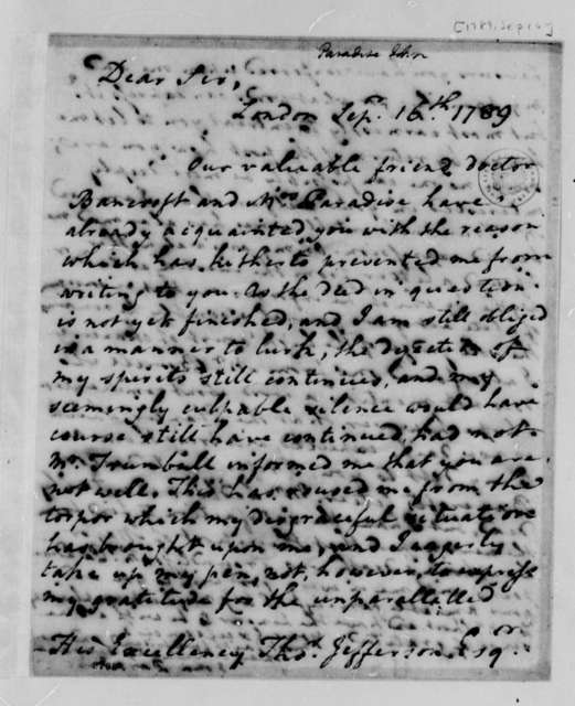 John Paradise to Thomas Jefferson, September 16, 1789