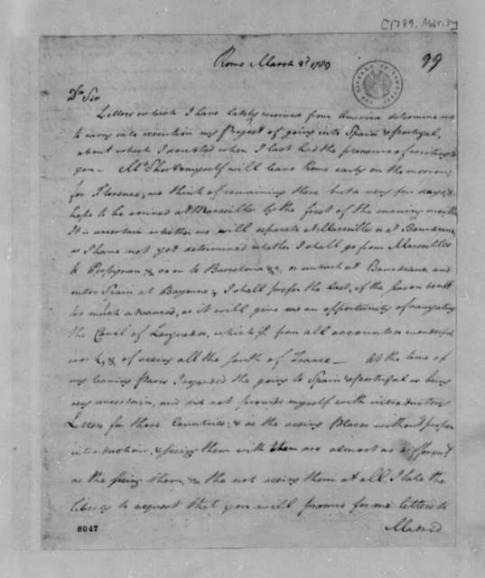 John Rutledge Jr. to Thomas Jefferson, March 3, 1789