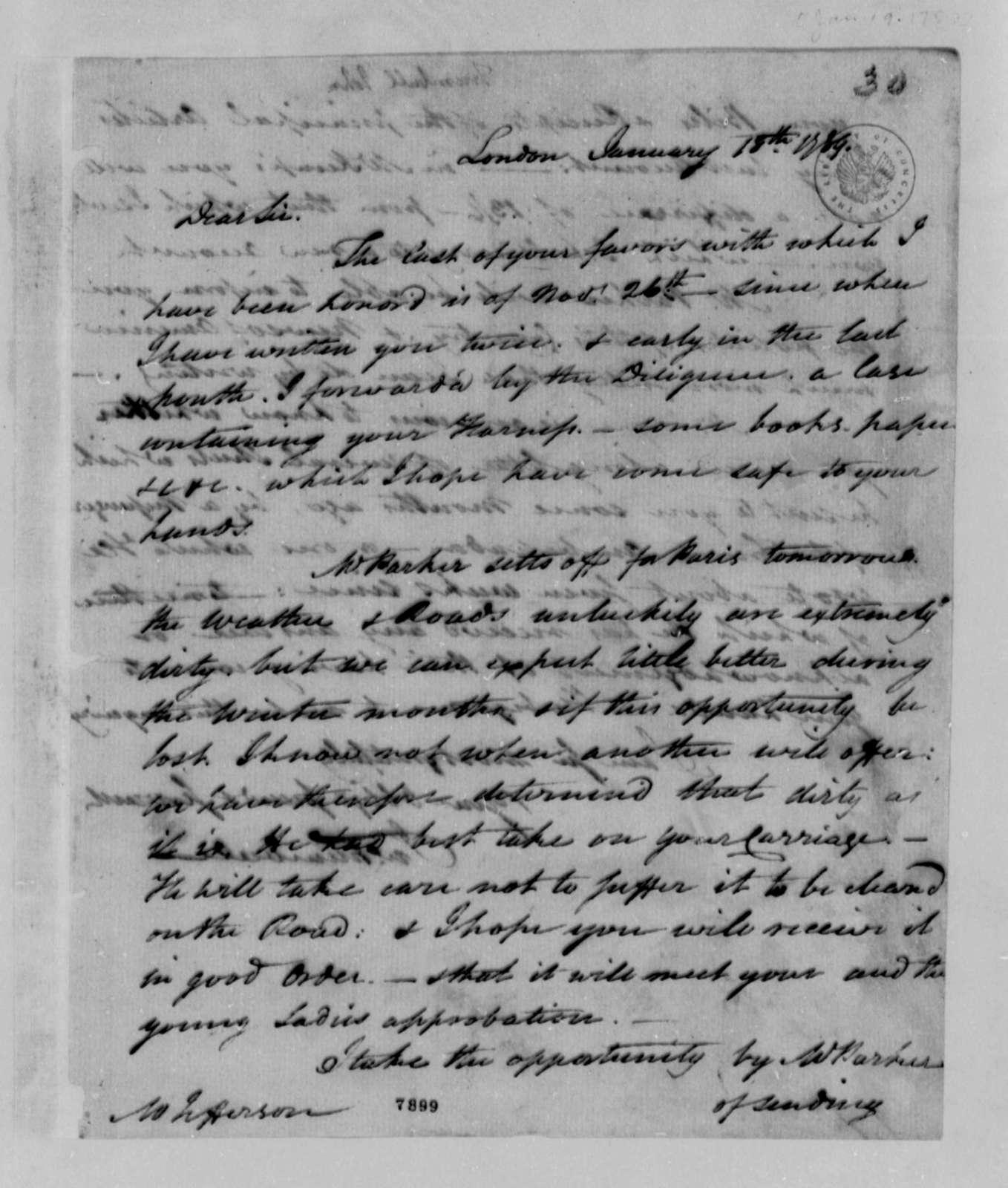 John Trumbull to Thomas Jefferson, January 18, 1789