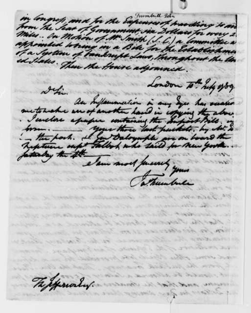 John Trumbull to Thomas Jefferson, July 10, 1789, with Impost Bill