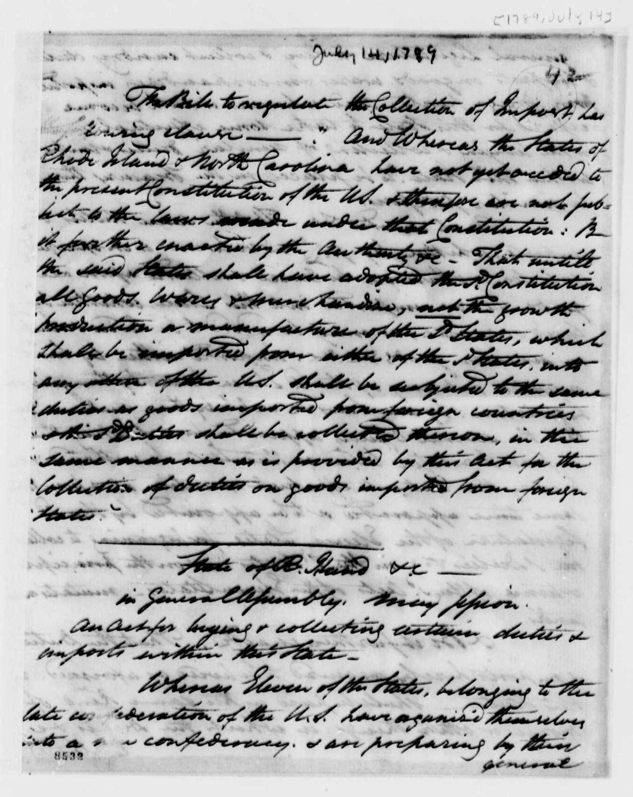 John Trumbull to Thomas Jefferson, July 14, 1789, with Extract