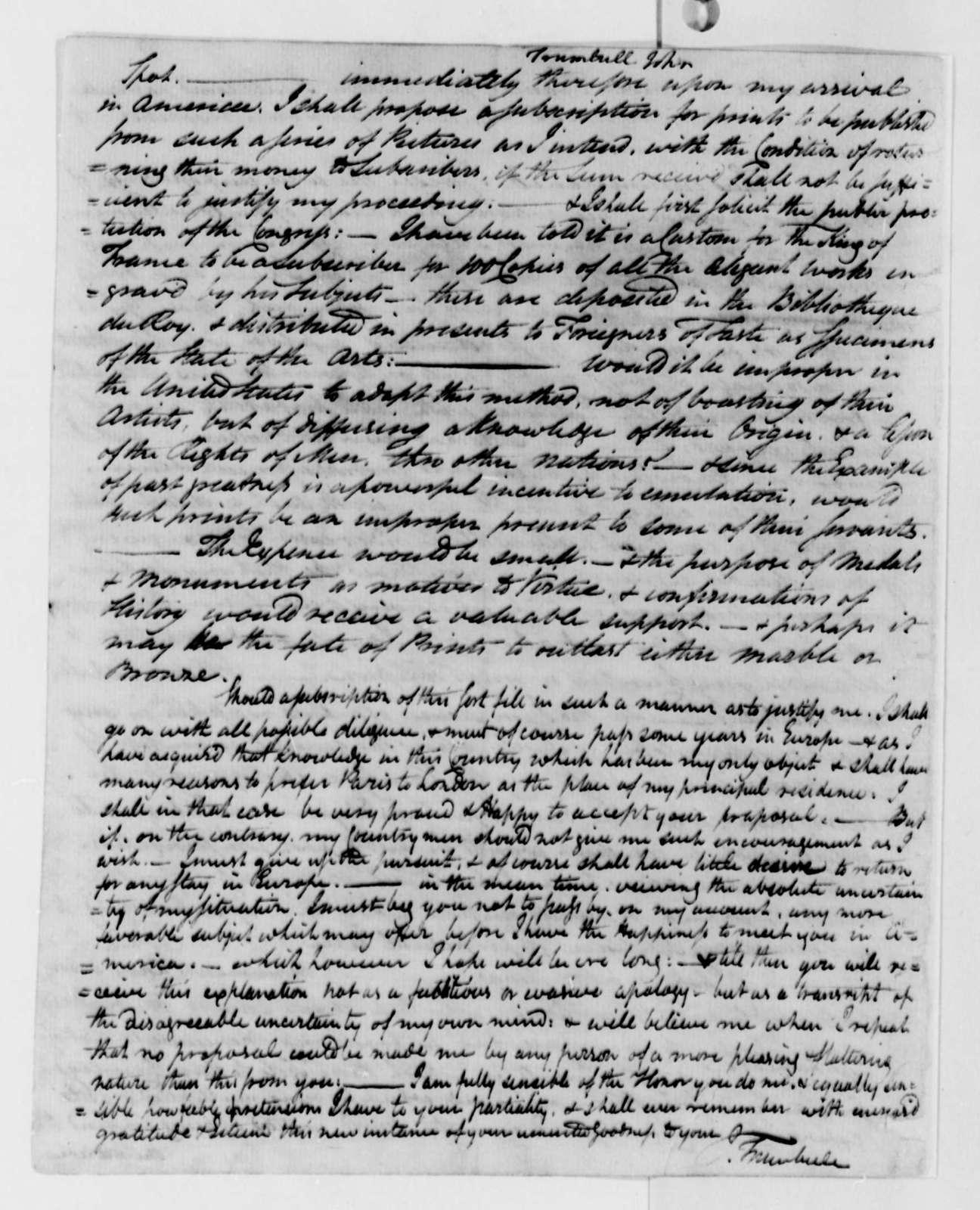 John Trumbull to Thomas Jefferson, June 11, 1789