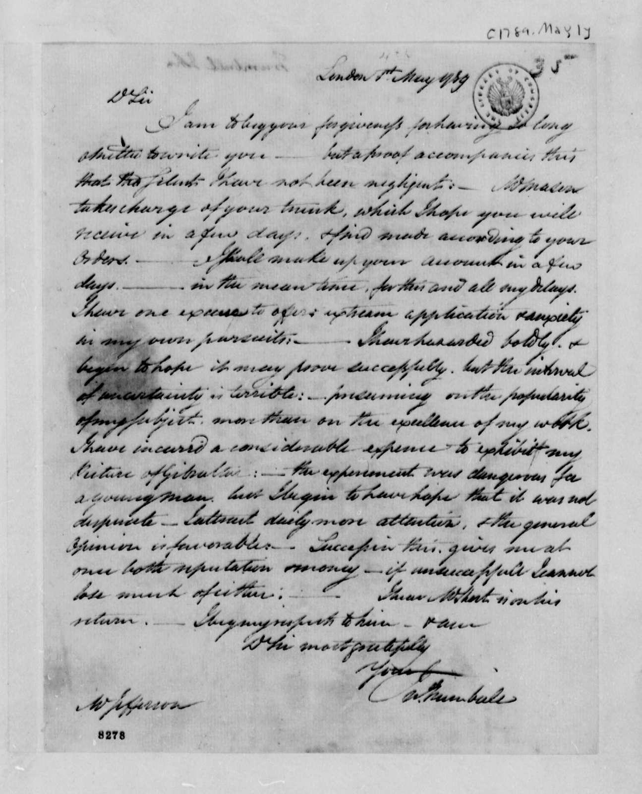 John Trumbull to Thomas Jefferson, May 1, 1789