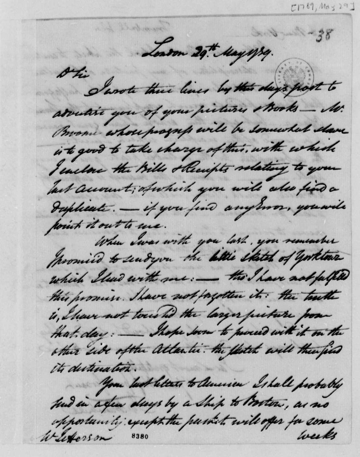 John Trumbull to Thomas Jefferson, May 29, 1789