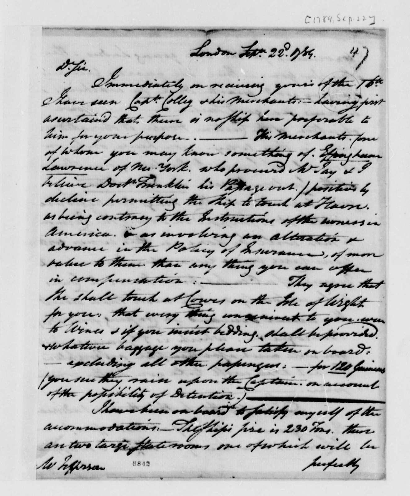 John Trumbull to Thomas Jefferson, September 22, 1789