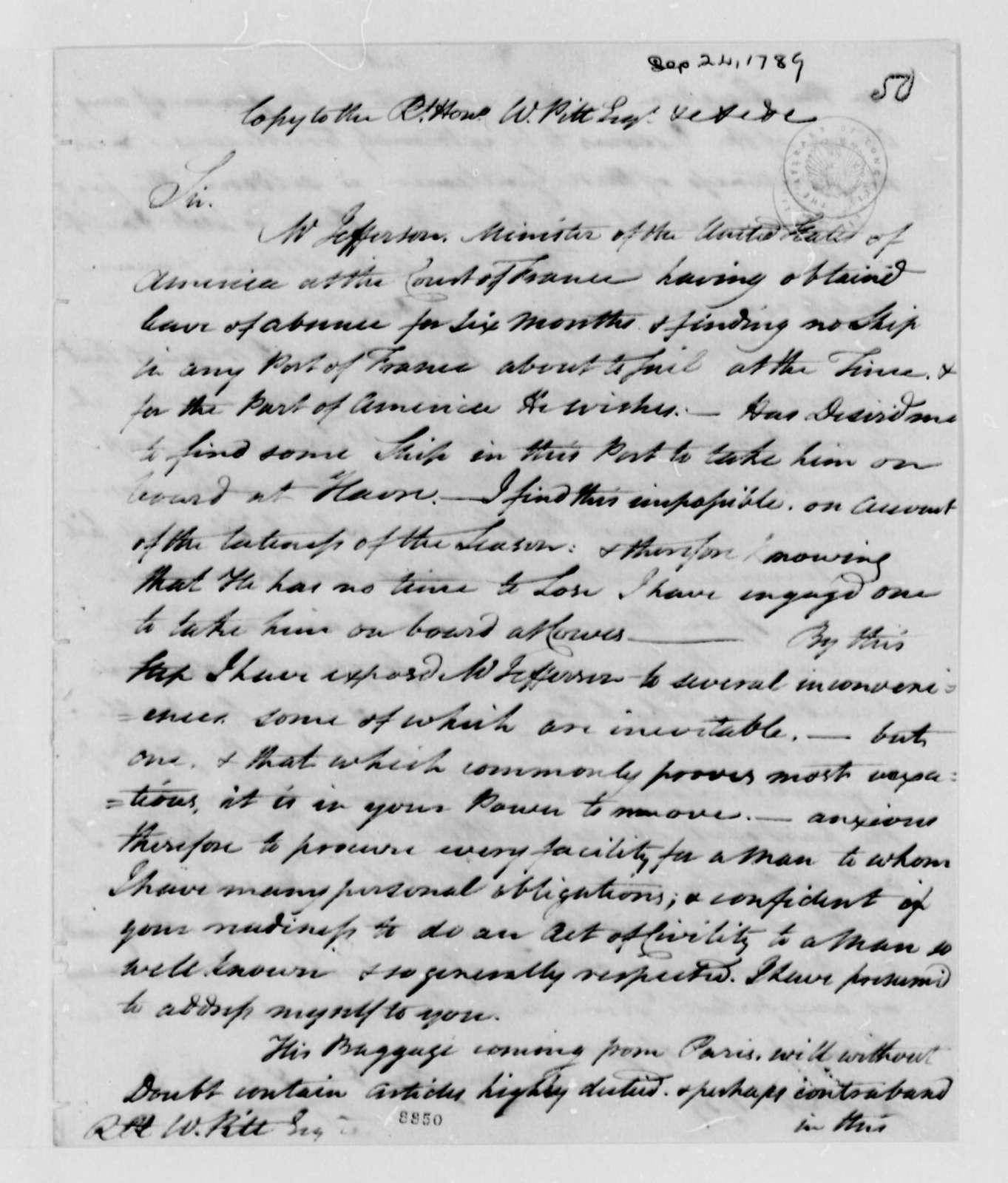 John Trumbull to Thomas Jefferson, September 24, 1789