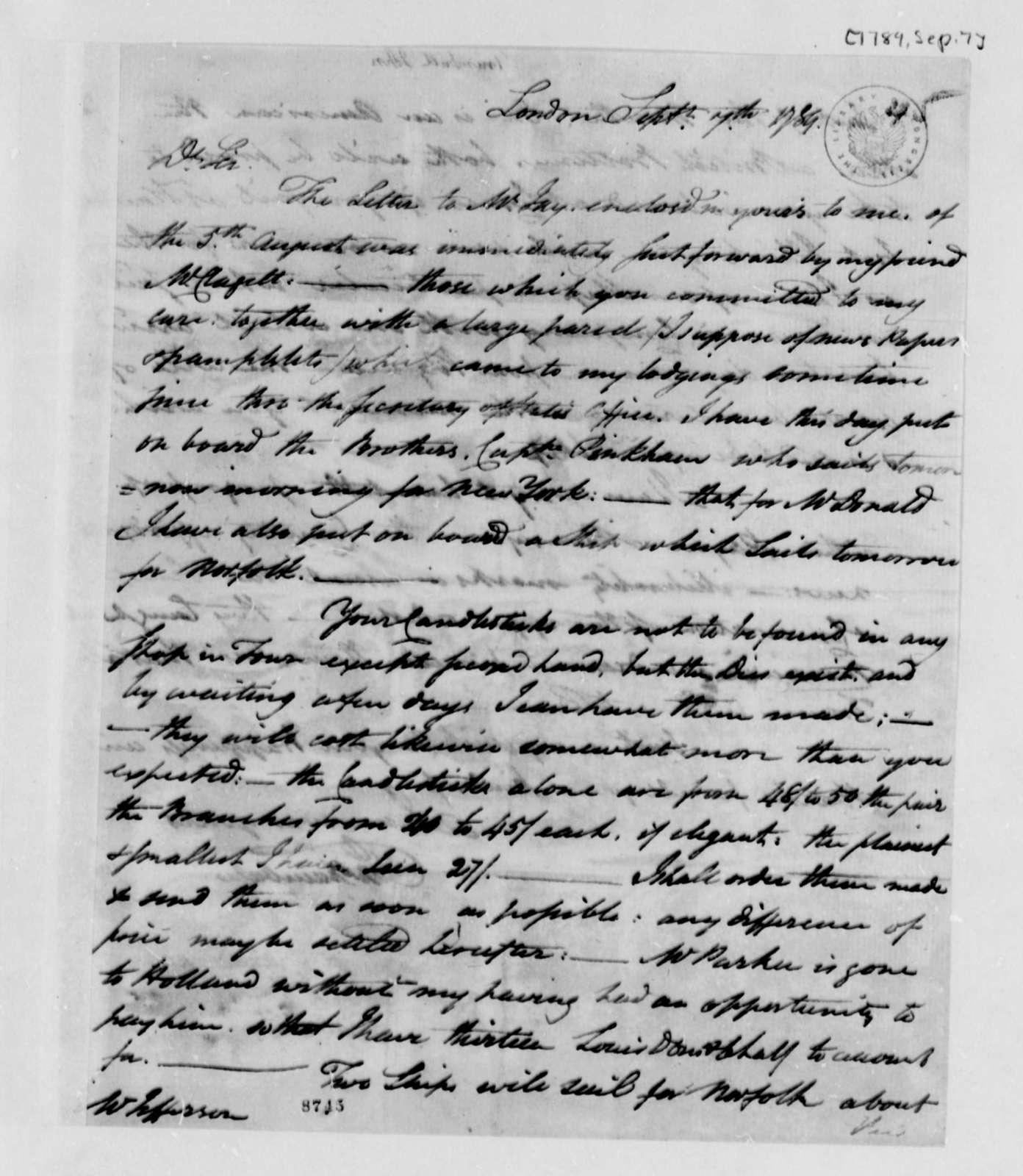 John Trumbull to Thomas Jefferson, September 7, 1789