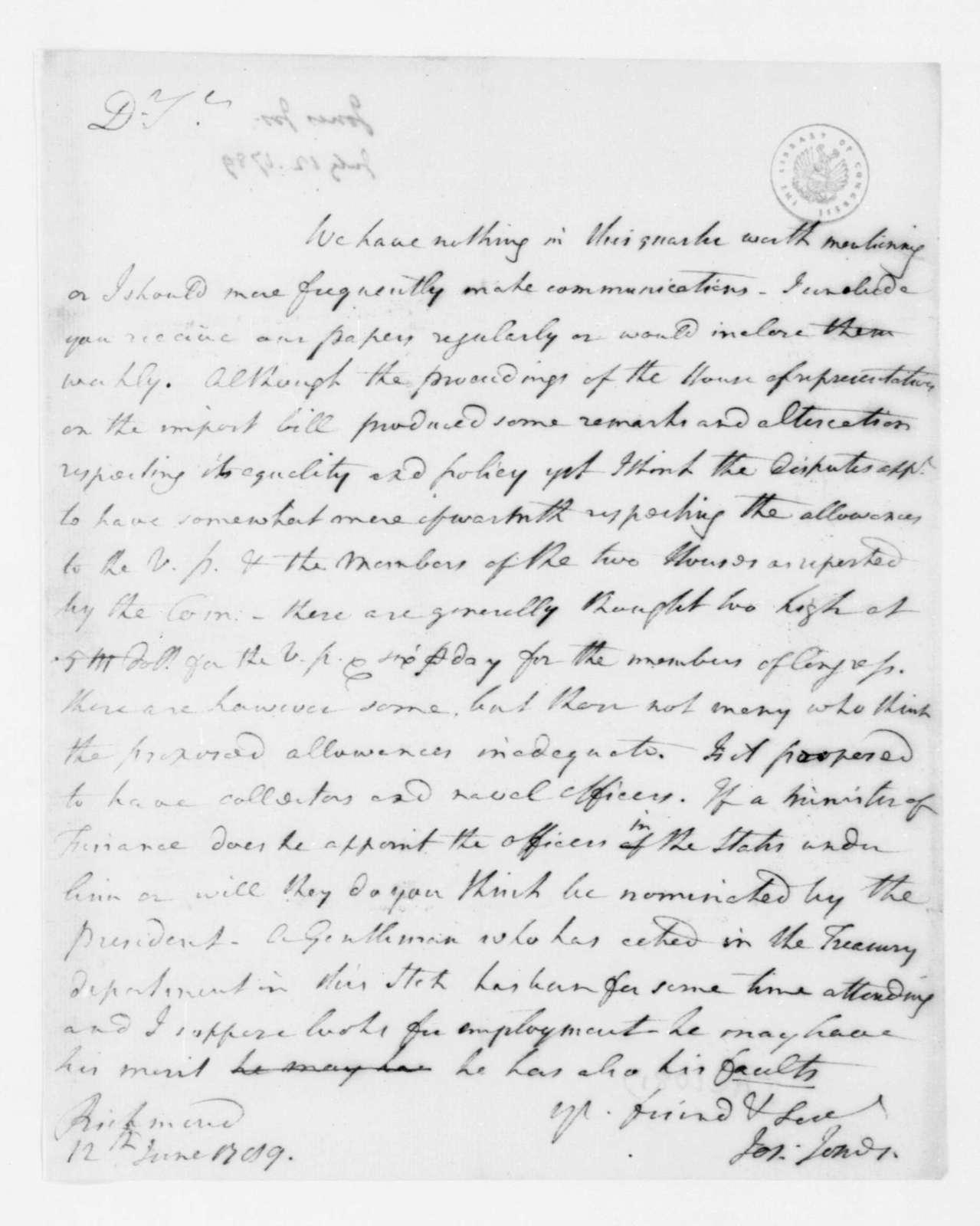Joseph Jones to James Madison, June 12, 1789.