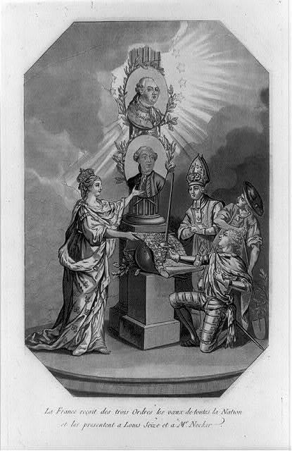La France reçoit des trois ordres les voeux de toutes la nation et les presentent à Louis Seize et à Mr. Necker