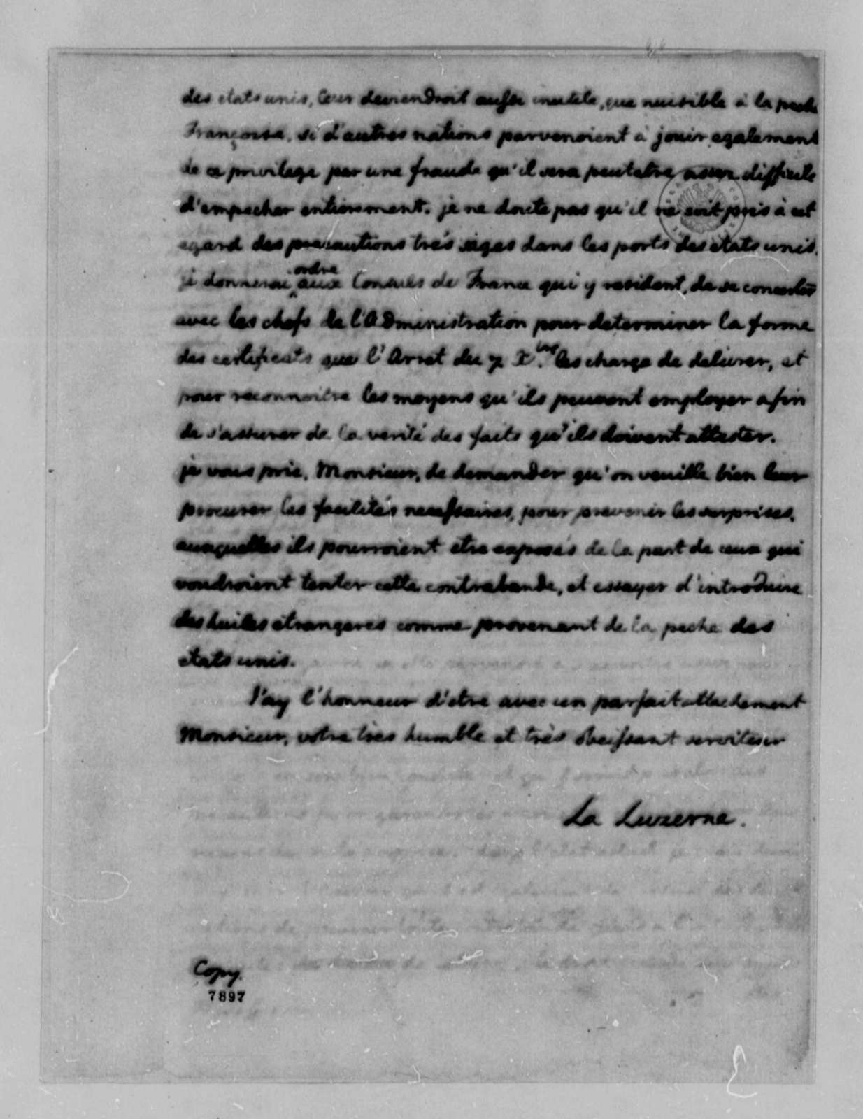 La Luzerne to Thomas Jefferson, January 18, 1789, Maritime and Fish Commerce; in French; with Copy