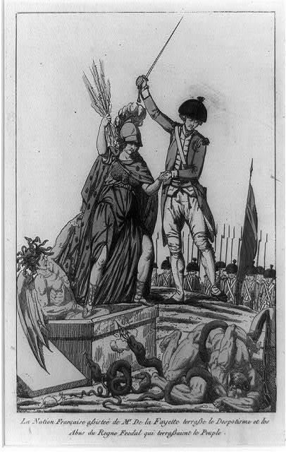 La Nation française assisteé de Mr. De la Fayette terrasse le despotisme et les abus du regne feodal qui terrassaient le peuple