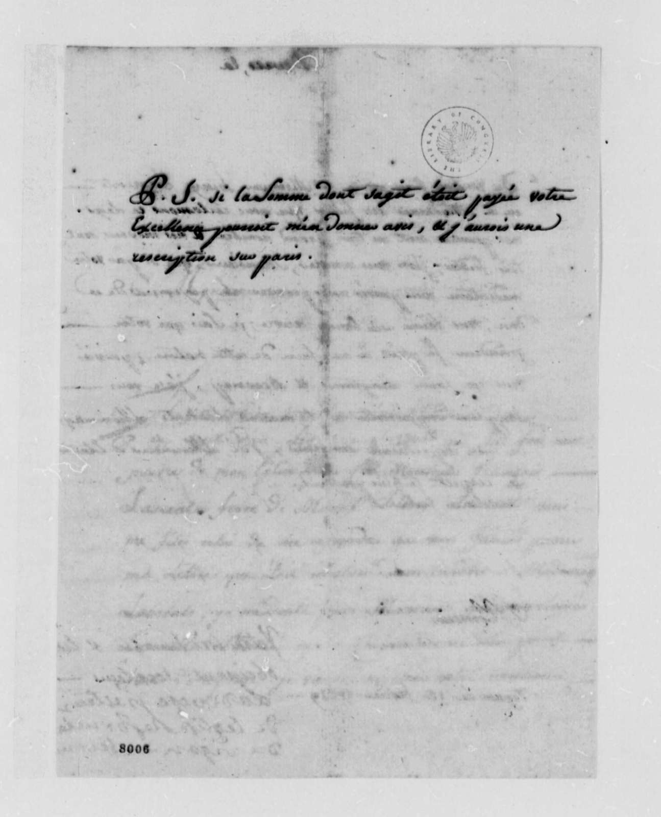 Ladevese to Thomas Jefferson, February 18, 1789, in French