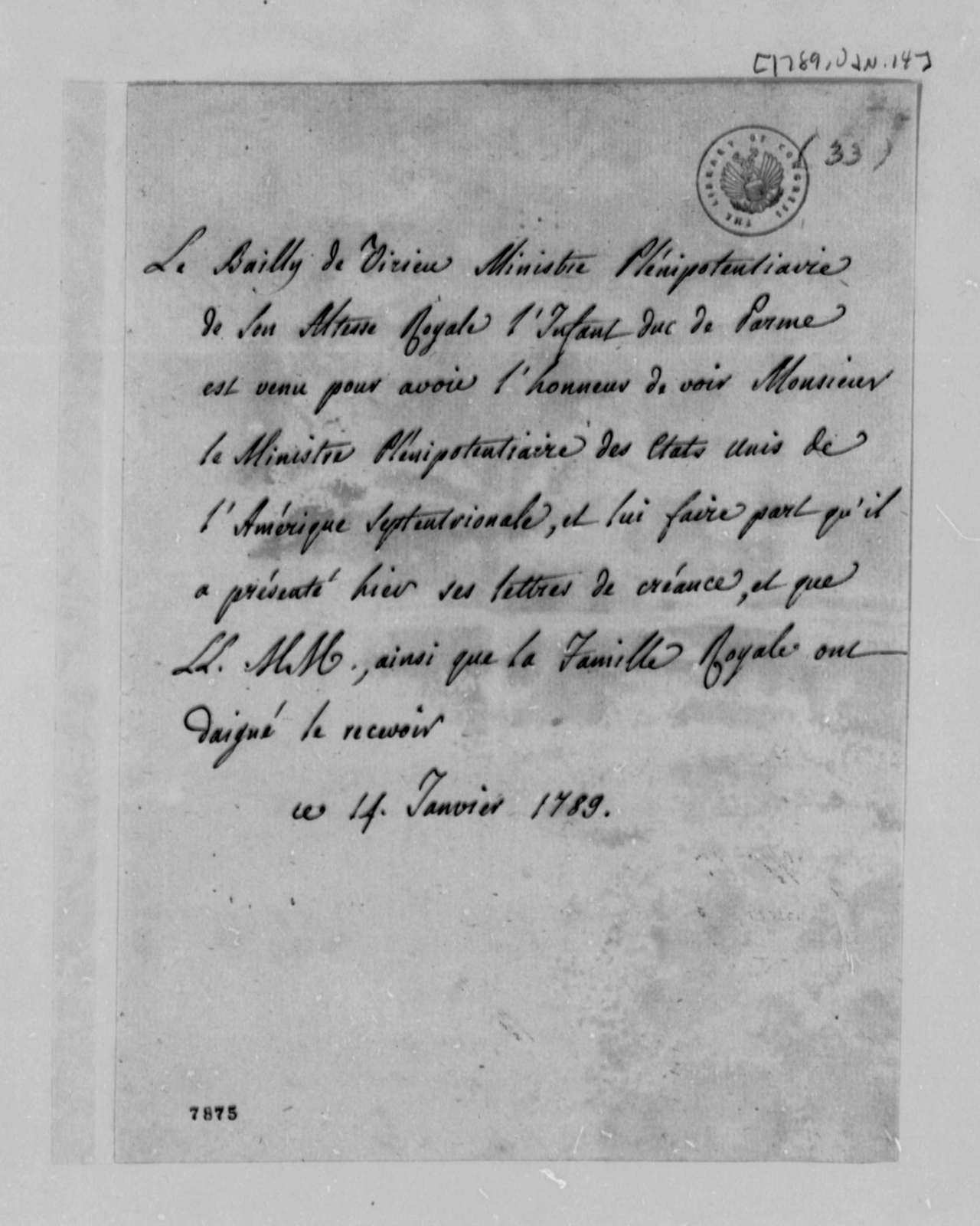 Le Bailly de Virieu to Thomas Jefferson, January 14, 1789, in French