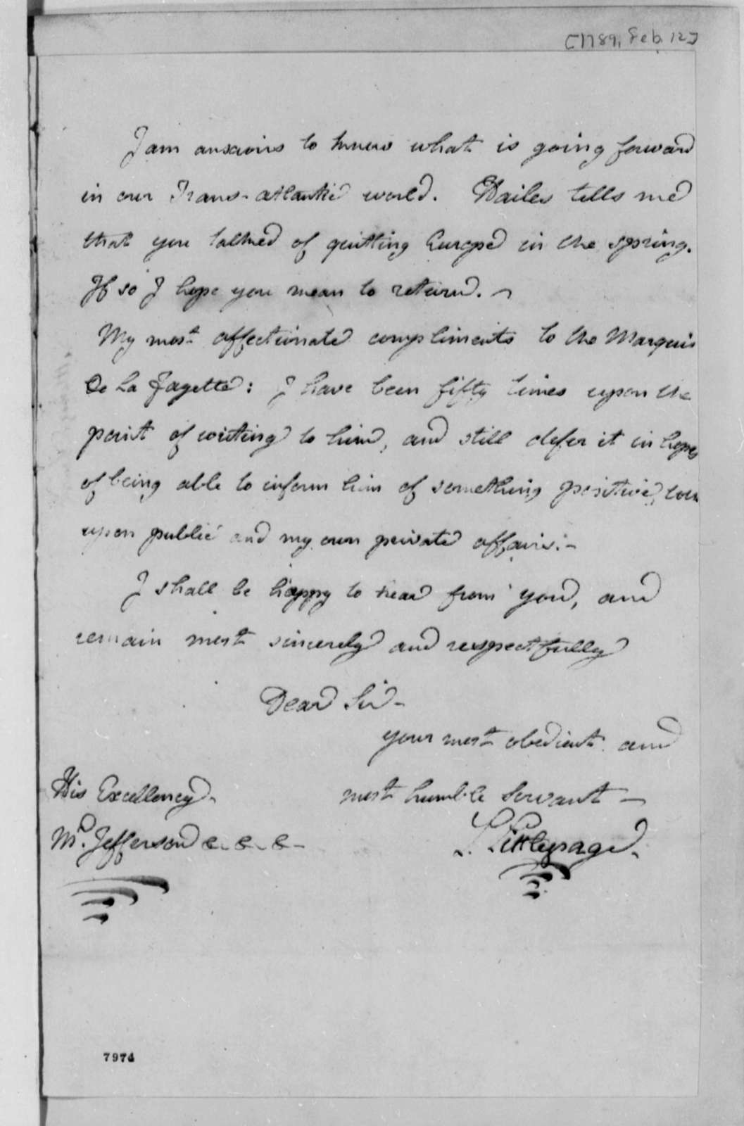 Lewis Littlepage to Thomas Jefferson, February 12, 1789