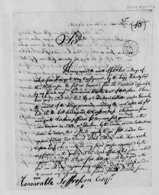 Louis Gomez to Thomas Jefferson, April 21, 1789