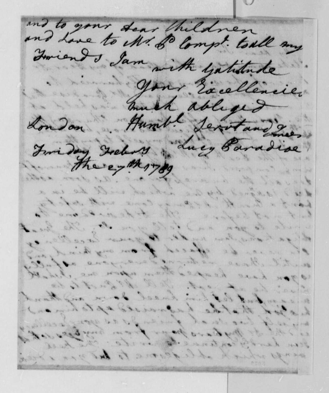 Lucy Ludwell Paradise to Thomas Jefferson, February 27, 1789