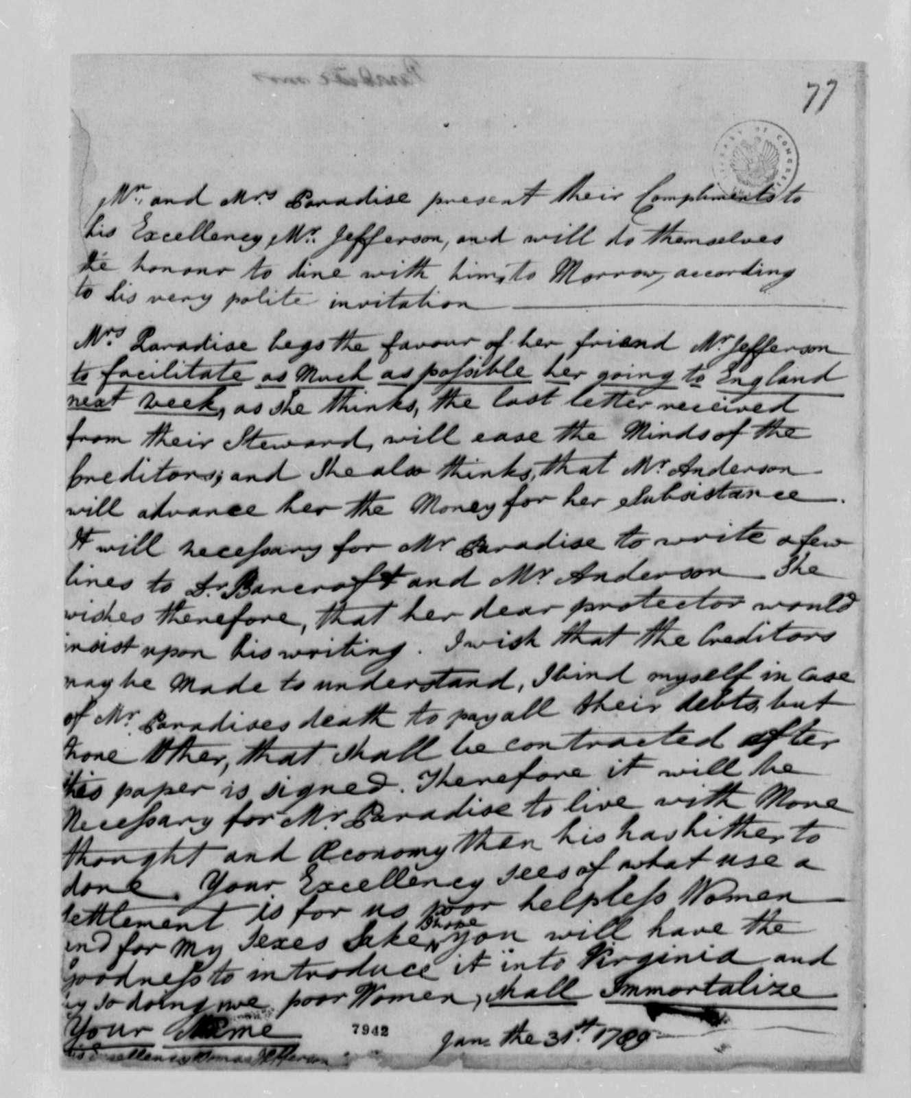 Lucy Ludwell Paradise to Thomas Jefferson, January 29, 1789