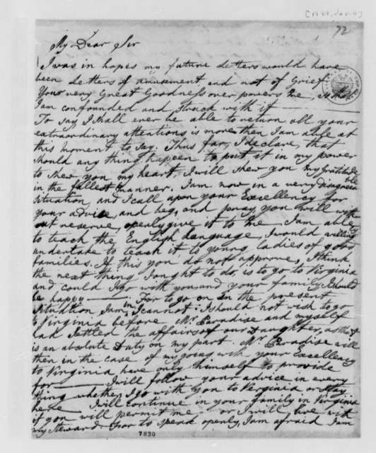 Lucy Ludwell Paradise to Thomas Jefferson, January 4, 1789