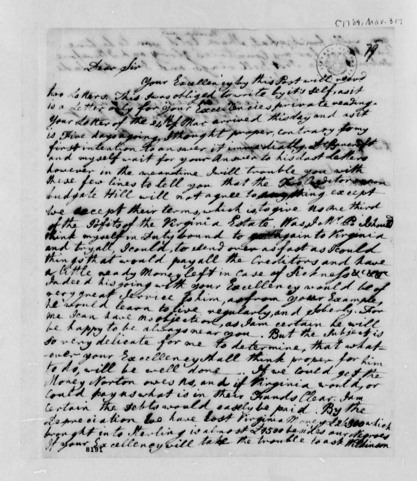 Lucy Ludwell Paradise to Thomas Jefferson, March 31, 1789