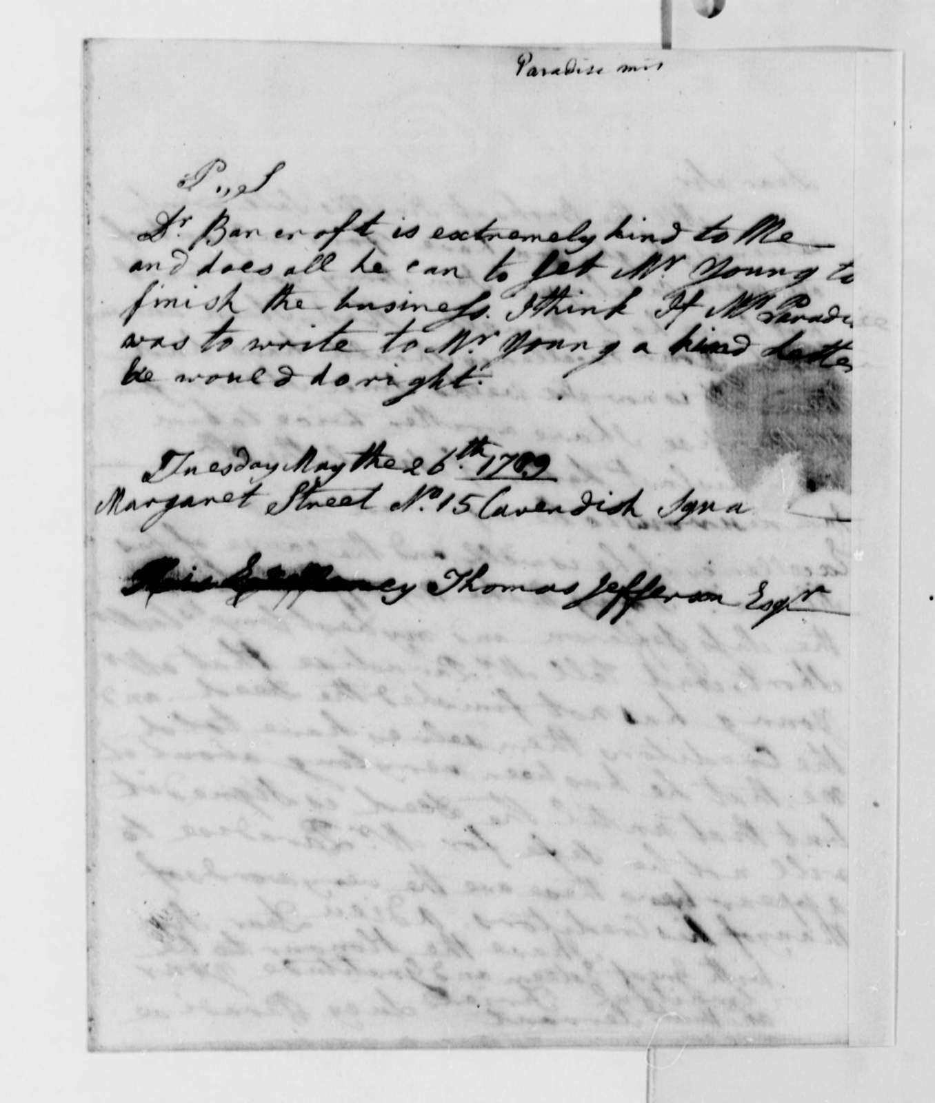 Lucy Ludwell Paradise to Thomas Jefferson, May 26, 1789