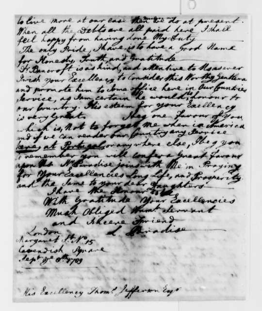 Lucy Ludwell Paradise to Thomas Jefferson, September 8, 1789