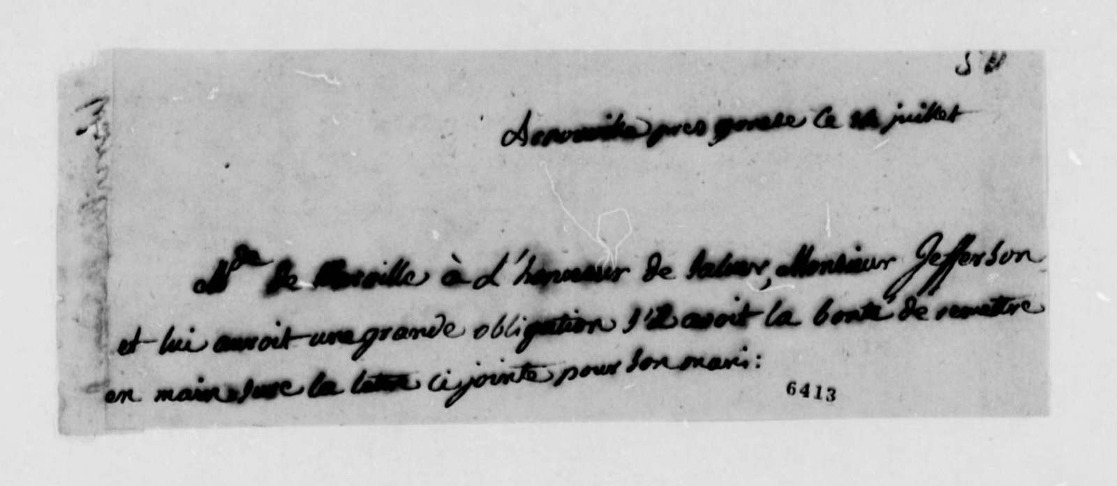 Madame Brissot de Warville to Thomas Jefferson, July 14, 1789, in French