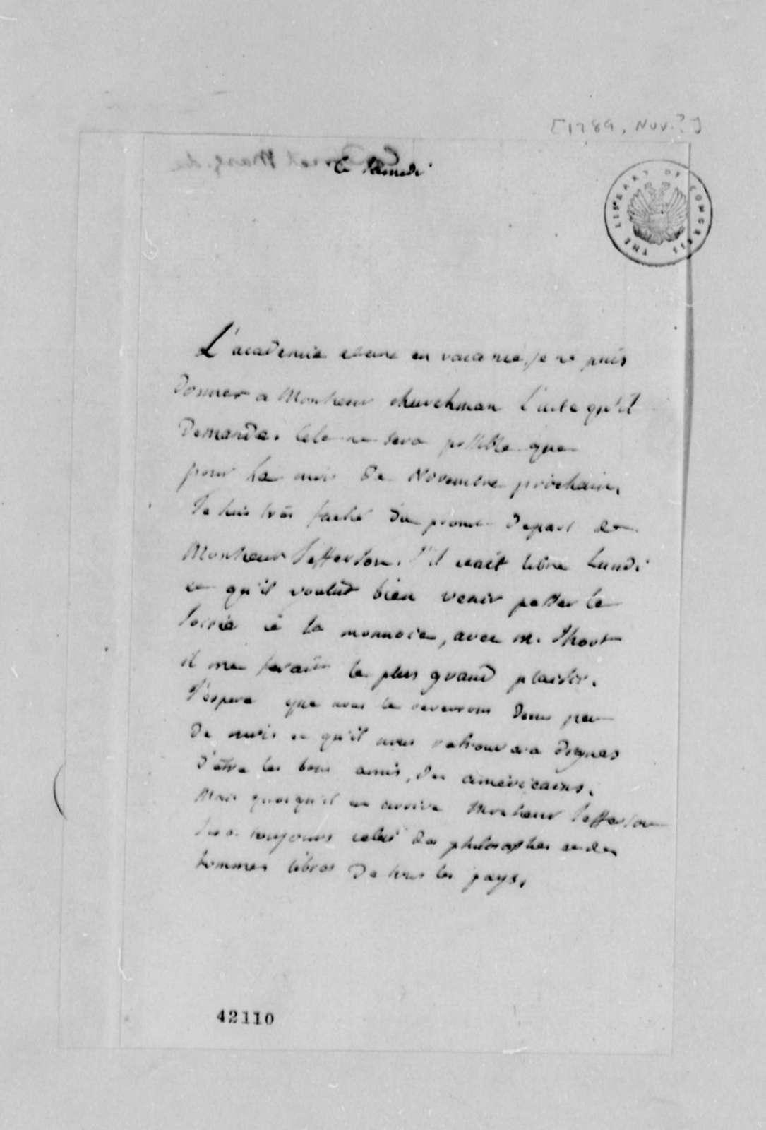 Madame de Condorcet to Thomas Jefferson, November 1789