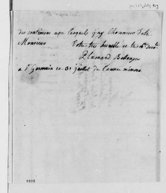 Madame Plumard de Bellanger to Thomas Jefferson, July 31, 1789, in French
