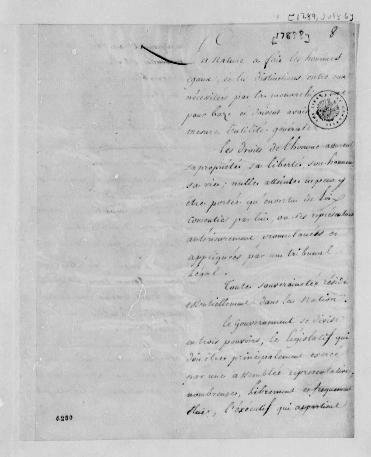 Marie Joseph Paul Yves Roch Gilbert du Motier, Marquis de Lafayette, July 6, 1789, Declaration of Rights, with Draft