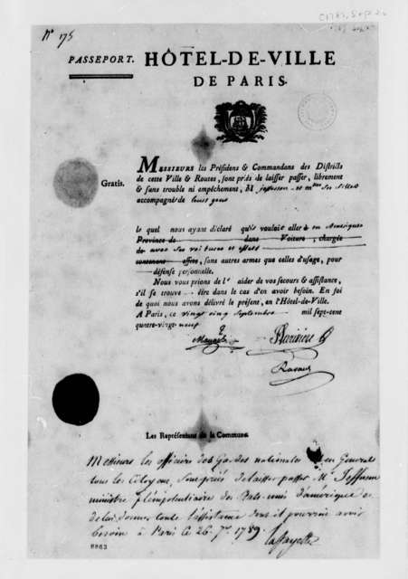 Marie Joseph Paul Yves Roch Gilbert du Motier, Marquis de Lafayette, September 26, 1789, Passport for Thomas Jefferson, Signed by Lafayette