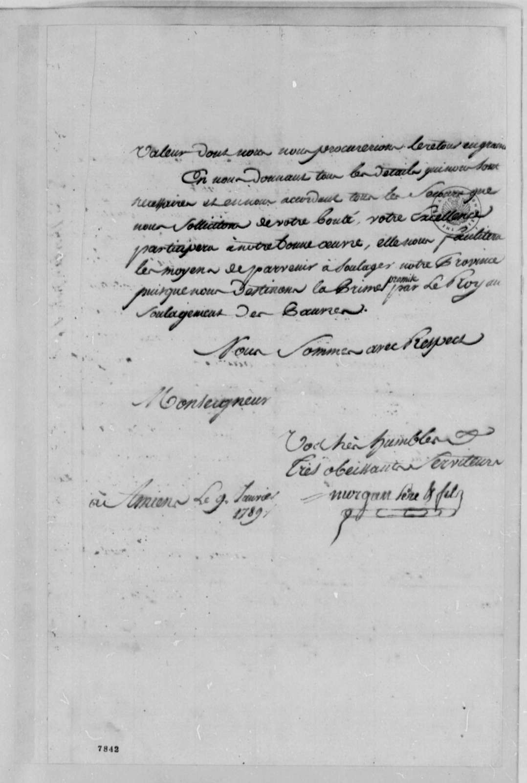 Morgan , Pere & Fils to Thomas Jefferson, January 9, 1789, in French