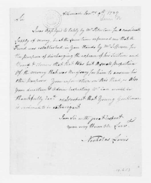 Nicholas Lewis to James Madison, January 9, 1789.
