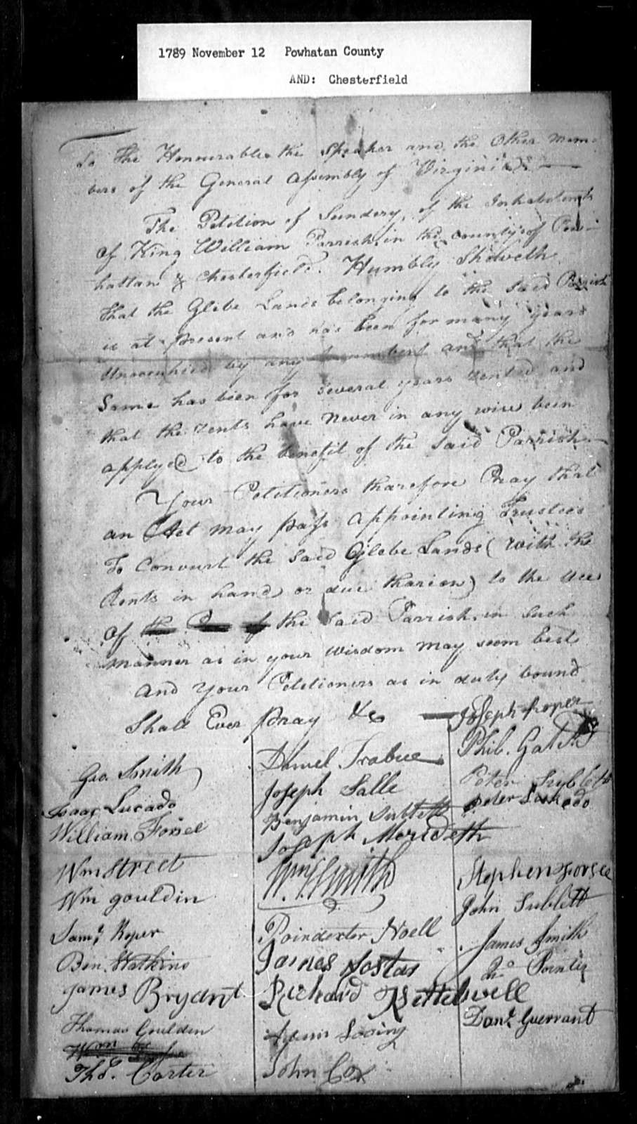 November 12, 1789, Powhatan, Chesterfield, King William Parish, for act to allow trustees to sell glebe lands.