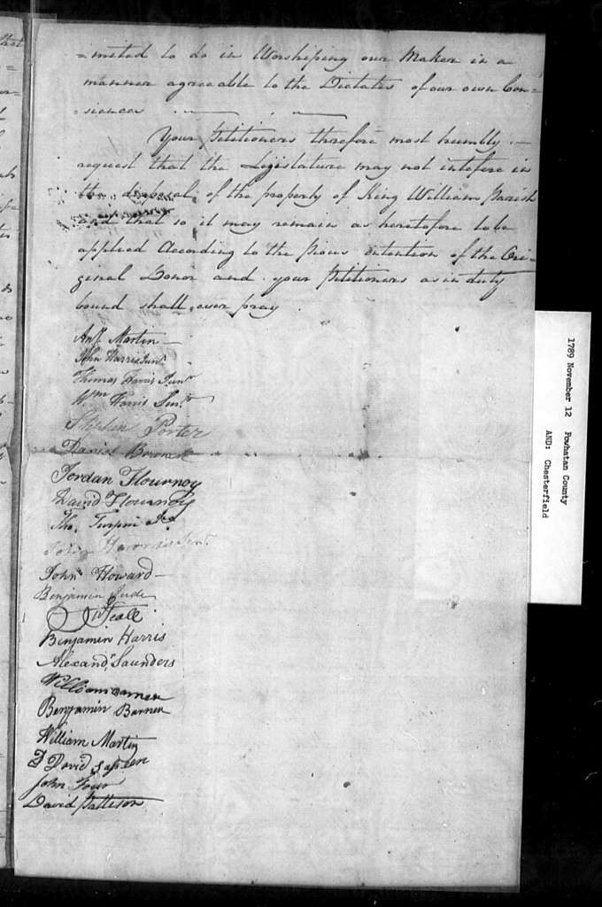 November 12, 1789, Powhatan, Chesterfield, King William Parish, opposed to sale of glebe lands.