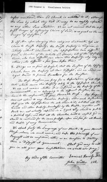 November 14, 1789, Miscellaneous, Baptist Association, meeting in Richmond, August 10, 1789, urges sale of Protestant Episcopal Church property for benefit of all.