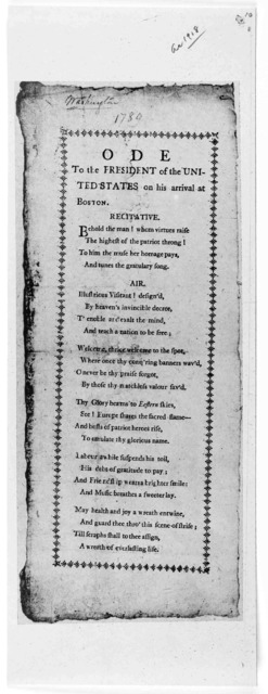 Ode to the President of the United States on his arrival at Boston. [Boston, 1789].