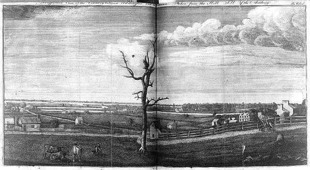 Perspective view of the country between Wilmington and the Delaware - taken from the hill S.W. of the academy