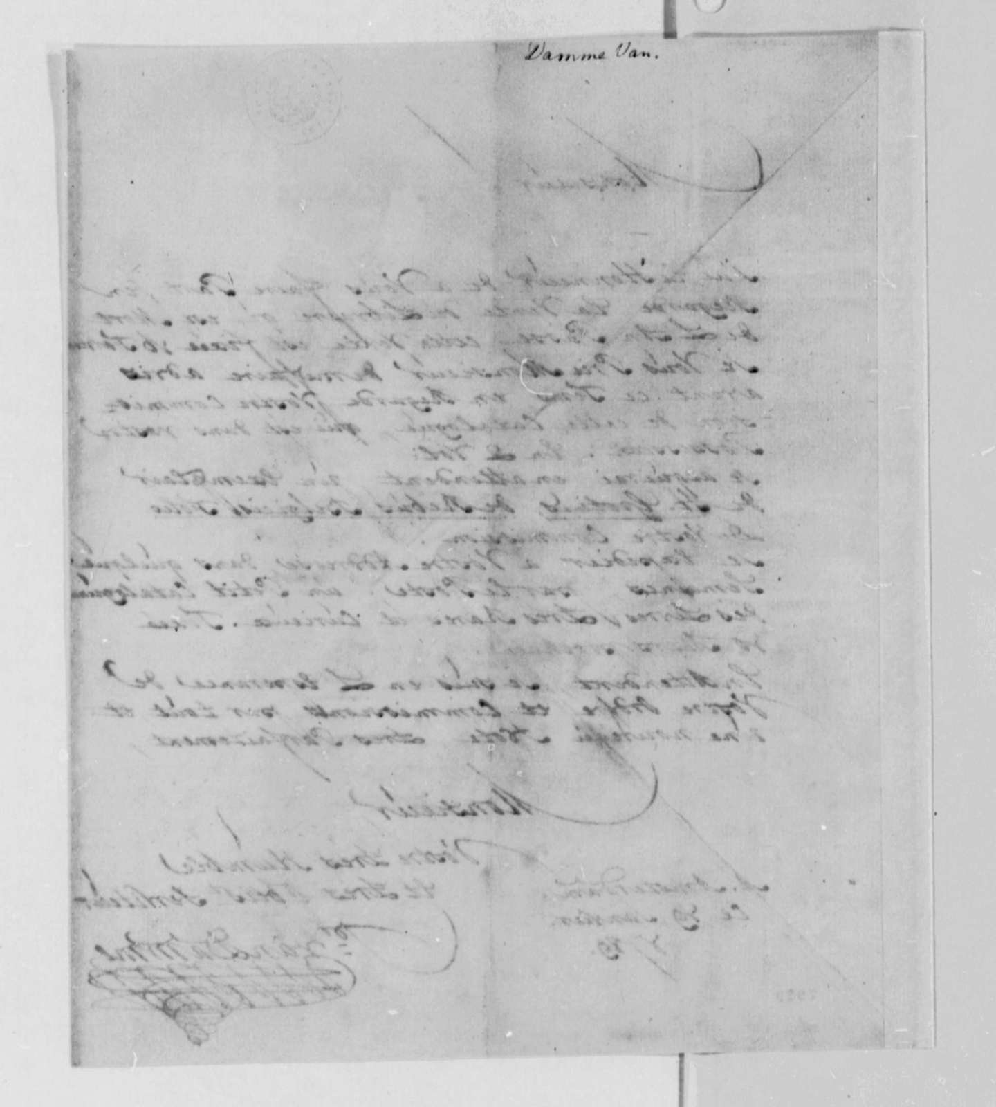 Pieter van Damme to Thomas Jefferson, January 29, 1789, in French