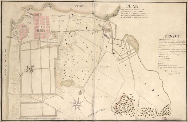 Plan des environs de l'ancienne et nouvelle ville de Cayenne pour servir au memoire relatif a l'ancienne commune de la ville a celle qu'on propose dy substituer /