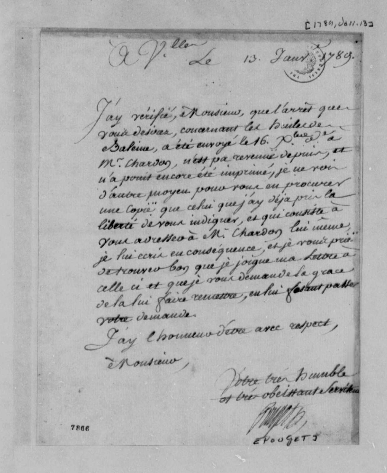 Pouget to Thomas Jefferson, January 13, 1789, in French